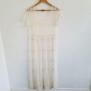 Vintage Embroidery Floral Mesh Lace Dress M